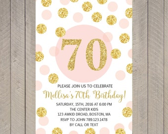 Printable disco dance party birthday invitation for girl printable 70th birthday invitation surprise 70th invitation invite pink and gold glitter birthday filmwisefo Images