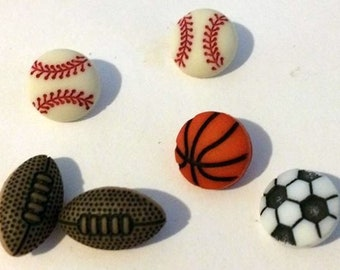 Versatile sports themed buttons, acrylic buttons, basketball button, baseball button, football button, soccer button, DIY sewing, DIY supply