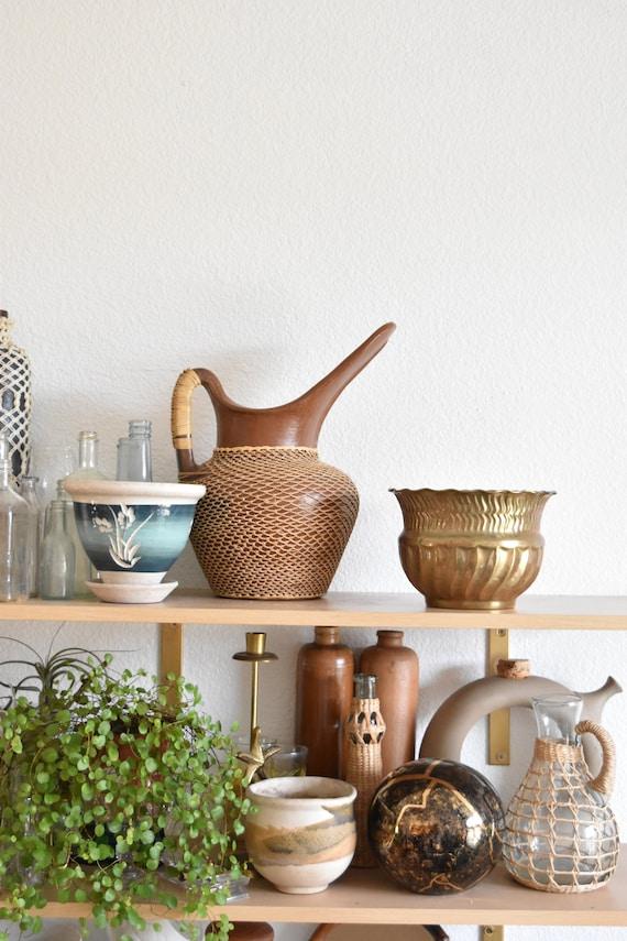 small hollywood regency brass planter / flower pot