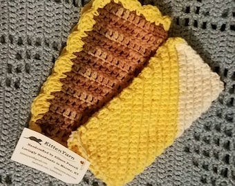 Dishcloth Set--Ready to Ship-- 2 Handmade Crochet Dishcloths--Variegated Browns, Yellow, Off White