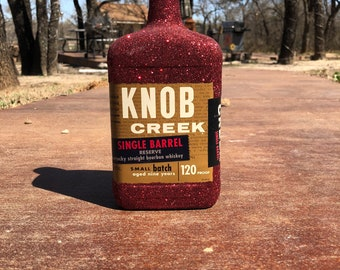 Red Glittered Knob Creek Bottle