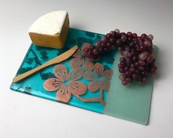 Sakura fused glass cheese plate, Japanese Cherry Blossom plate, Serving plate