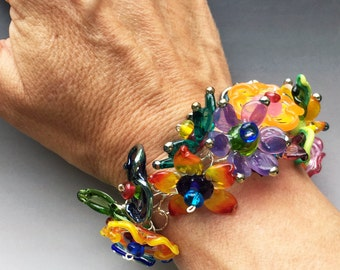 Secret Garden Bracelet: handmade glass lampwork beads with sterling silver components