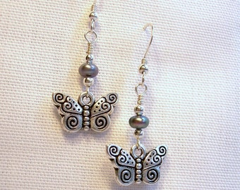 Butterfly Bliss Black Pearl Earrings