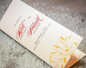 "Ceremony Programs, Folded Wedding Programs, Destination Wedding, Tropical Wedding, Hawaiian - ""Dramatic Tropical"" Booklet Program - DEPOSIT"