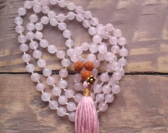 Rose Quartz Mala  / Love Mala / Mala Beads 108 / Hand Knotted Necklace / Gemstone Necklace / Gemstone Bracelet