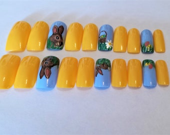 Spring bunnies Full cover artificial nail set-Long length, square tips