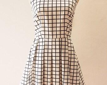 USD20 SALE-Size XS ,S-White Window Pane Plaid Dress White Party Dress Modern Vintage Modern Dress, White Boho Chic Dress