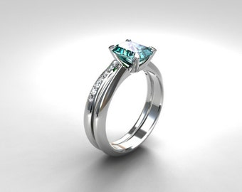 engagement ring set, emerald cut Aquamarine ring, engagement ring, wedding band, diamond, light blue, white gold ring, aquamarine solitaire,