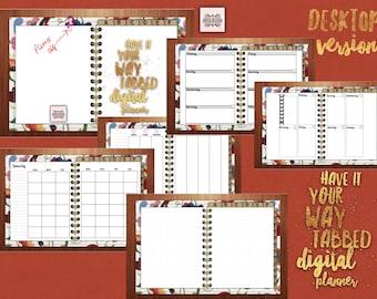 Have it Your Way Tabbed Desktop Digital Planner, Floral, for GoodNotes, Metamoji Note, OneNote