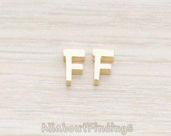 PDT198-F-MG // Matte Gold Plated 3D Initials Pendant, 2 pc