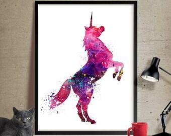 Unicorn Art Watercolor Print, Watercolor Art, Unicorn Poster, Nursery Art Print, Kids Room Unicorn Art Print Decor (64)