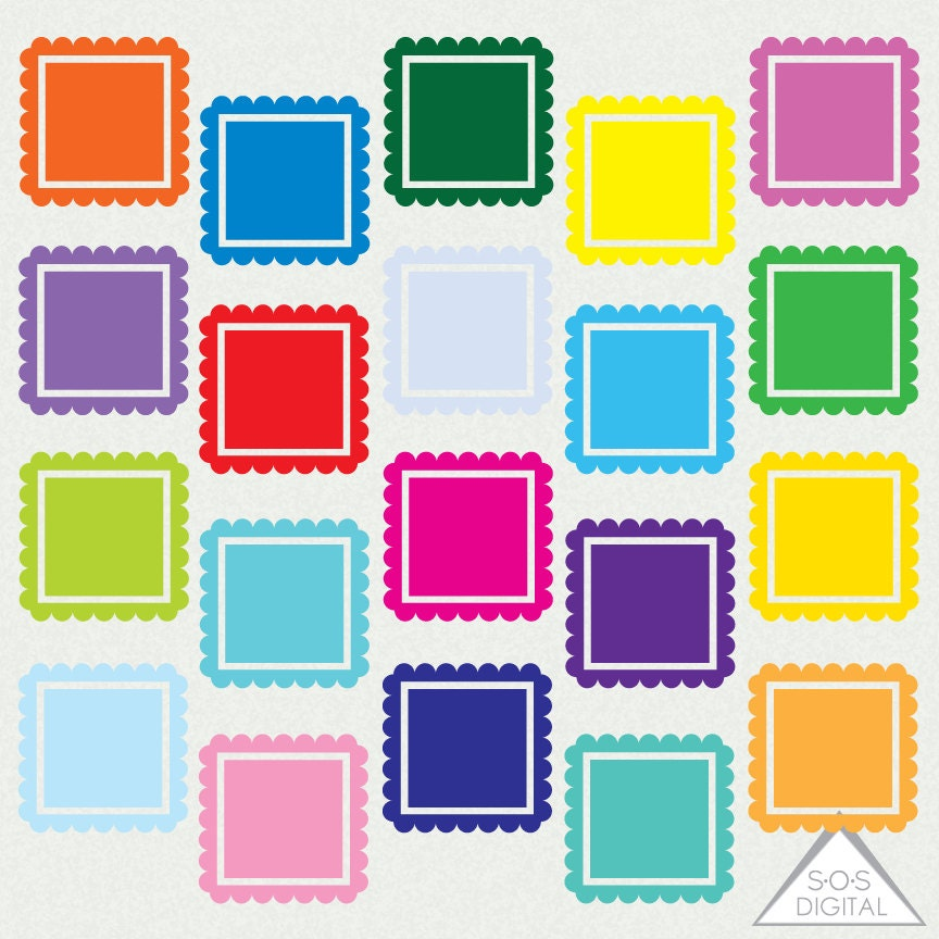 Helle digitale Bilderrahmen quadratischen Rahmen Clipart