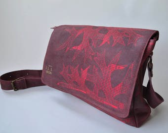 Red leather bag with neon screenprint