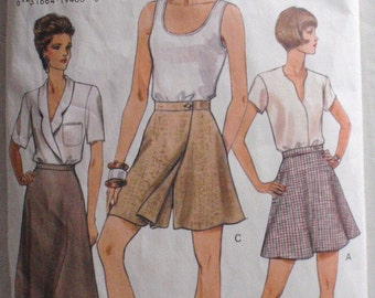 Vogue 9012 - Very Easy Flared or A-line Skirt and Shorts Sewing Pattern - Sizes 6-8-10, Waist 23-24-25