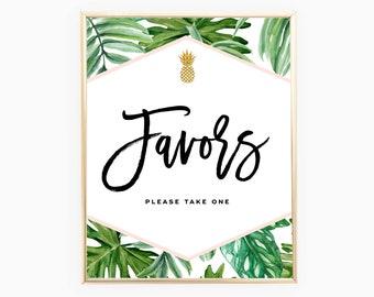Favor Sign | Tropical Bridal Shower Signs | Palm Leaf | Instant Download 8x10
