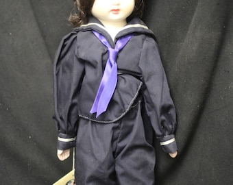 """16 inch Porcelain """"Rene"""" Doll Dressed in a Sailor Suit"""