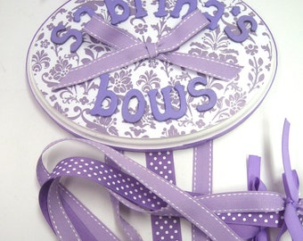 Lavender and White Damask  Bow Holder
