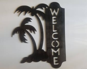 """Palm Tree Welcome Sign Plasma Metal Wall Art Tropical Outdoor Home 21""""X16.5"""""""