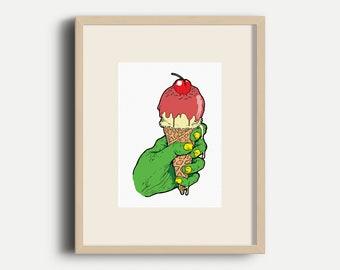 Zombie Ice Cream Illustration - A4 Art Print