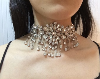 Maria Antoinette Swarovski rhinestone crystals chandelier dangly wedding bridal choker necklace, rhinestones necklace, Victorian necklace