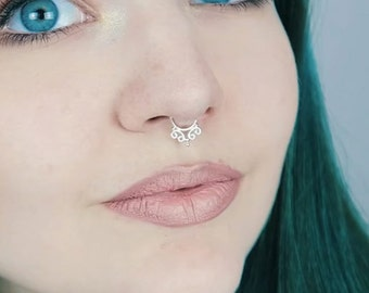 Silver Septum Ring, Septum Jewelry, Septum Ring 16g, Septum Ring 14g, Septum Jewelry 16g, Nose Ring, Tribal Septum, Septum Piercing 16g