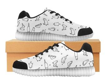Catty blanc | LED Light Up chaussures | Enfants garçons filles tailles | Tige extensible haute | Semelle intérieure en tissu | Recharger | Choisissez noir ou blanc garniture