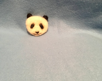 Hand needle felted wool Panda Bear pin