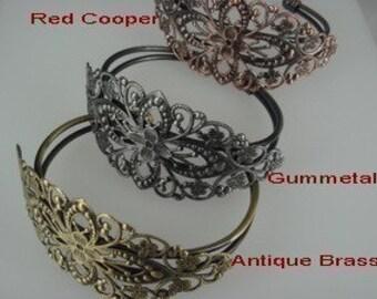 Last 20%off:  CB-01  2pcs Gunmetal Brass Filigree Cuff Bracelet - Gunmetal