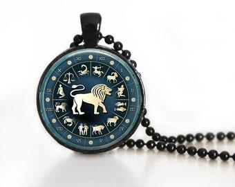 Zodiac Signs Leo Glass Pendant/ Necklace/ Keychain