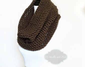 Brown Crochet Scarf, Brown Crochet Cowl, Dark Brown Infinity Scarf, Chocolate Brown Neck Warmer, Handmade Crochet Scarf, Snood Scarf