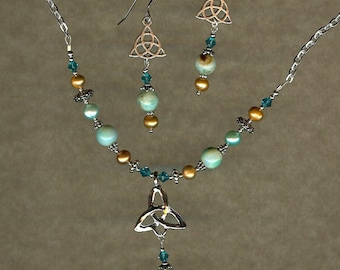 Sand and Sea Necklace & earring set with Irish Celtic Trinity knot
