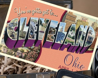 Vintage Large Letter Postcard Save the Date (Cleveland Ohio) - Design Fee
