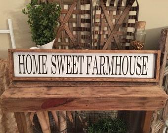 Home Sweet Farmhouse Wood Framed Custom Sign