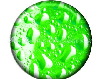 1 cabochon 25mm, nature, water, drop, round glass