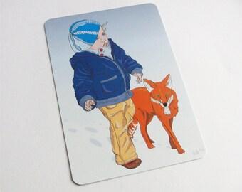 "Postkarte, postcard, ""Mädchen mit Fuchs"""