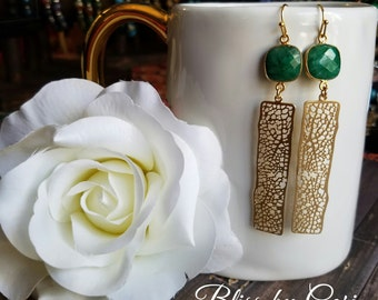 Emerald Gold Dangle Earrings  -  *FREE SHIPPING*