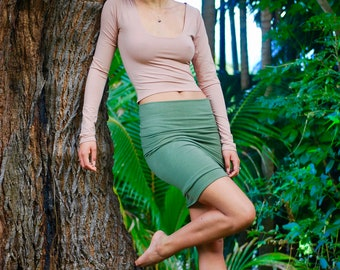 Long Sleeve Scoop Neck Cropped Top - Organic Clothing - Eco Friendly - Layering Top - Nude - Beige - Ginger