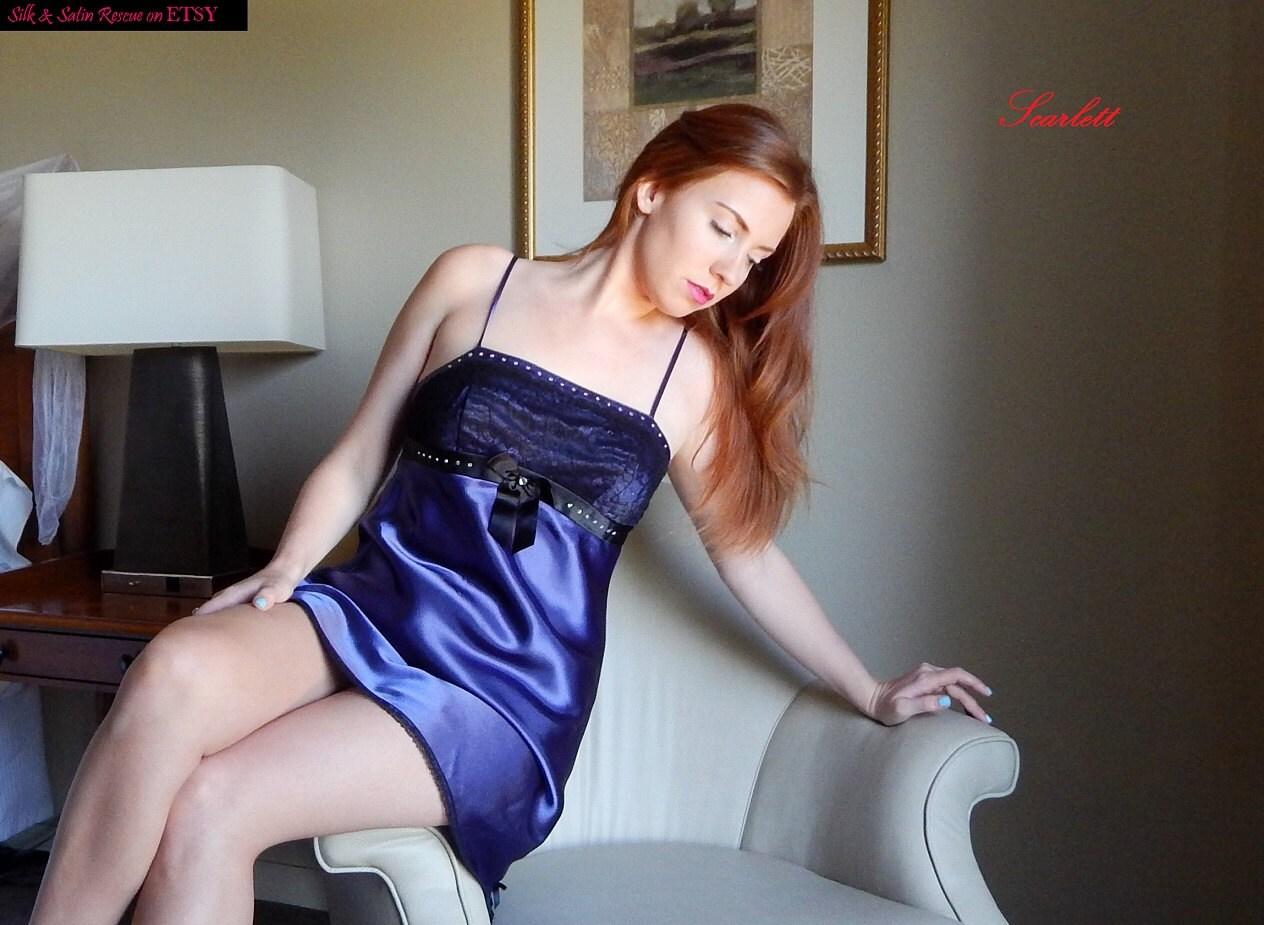 Blue Satin Lingerie