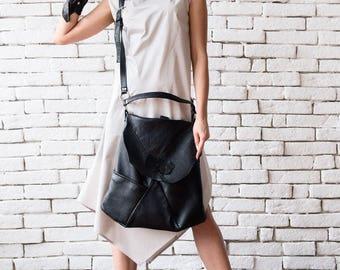 Black Genuine Leather Bag/Extravagant Leather Tote/Casual Black Shoulder Bag/Asymmetric Statement Bag/Cross Body Bag/Black Backpack