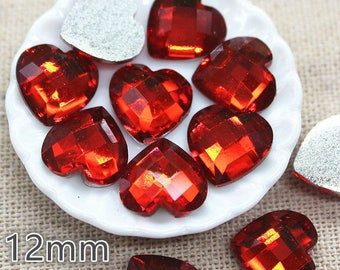 10 Flat Back Red Love Heart 12mm Cabochons - Card Making Embellishments Crafts Jewellery Making