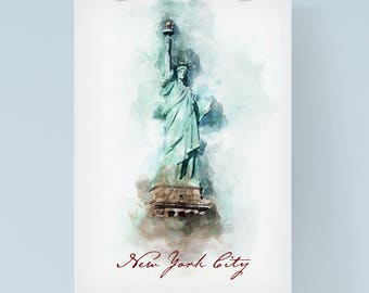 Statue of Liberty print, New York print, Modern Illustration, art, NYC poster, Home decor, Watercolor print, Wall Art Print, Modern art