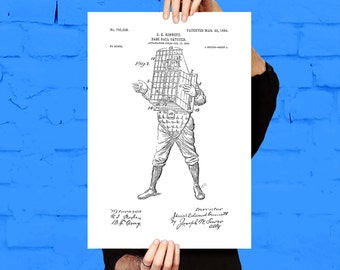 Baseball Catcher Patent, Baseball Catcher Poster, Baseball decor, Baseball Print, Baseball Art, Baseball