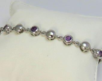 Sterling Silver Bracelet with Faceted Amethyst Gemstones