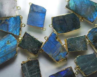 24k Gold Plated, 4 Pieces, Full Flash Large Blue Labradorite Slice Connector, Size 40-30mm