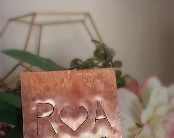 Personalized Copper Coasters ~ Initial Coasters ~ Wedding Favor ~ Wedding Coaster ~ Monogram Coaster ~ Wedding Gift ~