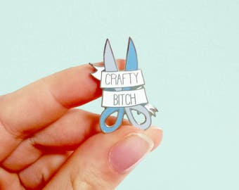 CRAFTY B*TCH hard enamel pin | Lapel pin |  pin badge | Cute lilac blue scissors | bright pastel | arts and crafts |gift for her
