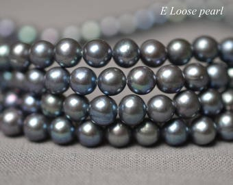 Round pearl Freshwater pearls Large hole pearl leather pearl potato Loose pearls Nearly round pearl necklace 6-6.5mm Full Strand PL2357