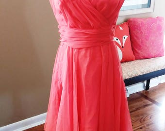 Miss Ellite of California Chiffon Tea Dress Ruched Bodice and Waist ADORABLE for summer flirty Fun! M