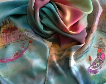 Venice, Italy,Gondolas on silk charmeuse shawl, silk scarves for women, hand painted gifts, one-of-a-kind gifts of Italy, teal green, purple